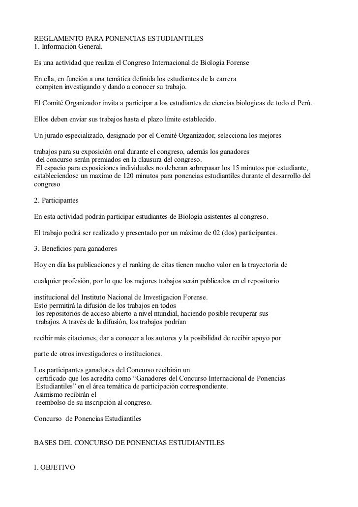 REGLAMENTO PARA PONENCIAS ESTUDIANTILES1. Información General.Es una actividad que realiza el Congreso Internacional de Bi...