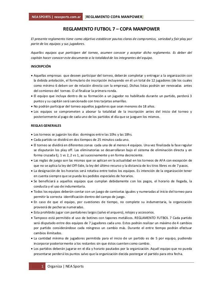 NEA SPORTS | neasports.com.ar         [REGLAMENTO COPA MANPOWER]                       REGLAMENTO FUTBOL 7 – COPA MANPOWER...