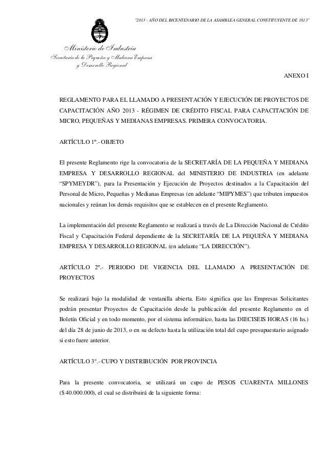 """""""2013 - AÑO DEL BICENTENARIO DE LA ASAMBLEA GENERAL CONSTITUYENTE DE 1813""""     Ministerio de IndustriaSecretaría de la Peq..."""