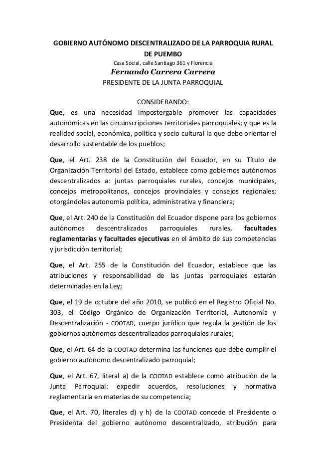 GOBIERNO AUTÓNOMO DESCENTRALIZADO DE LA PARROQUIA RURAL                      DE PUEMBO                     Casa Social, ca...