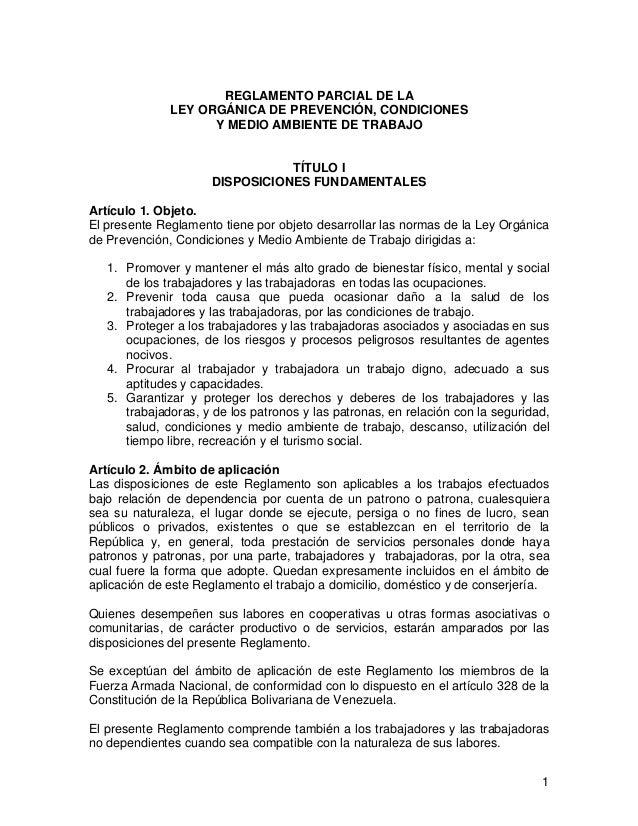 REGLAMENTO PARCIAL DE LA              LEY ORGÁNICA DE PREVENCIÓN, CONDICIONES                    Y MEDIO AMBIENTE DE TRABA...