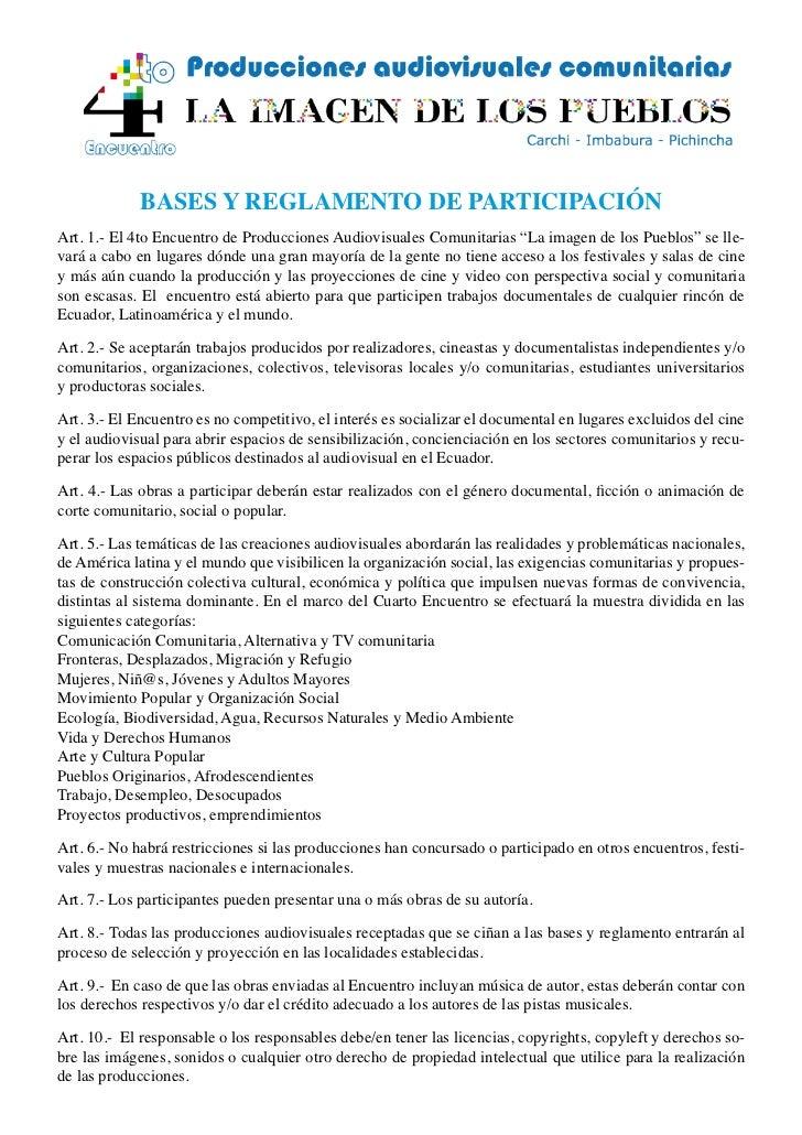 """BASES Y REGLAMENTO DE PARTICIPACIÓNArt. 1.- El 4to Encuentro de Producciones Audiovisuales Comunitarias """"La imagen de los ..."""