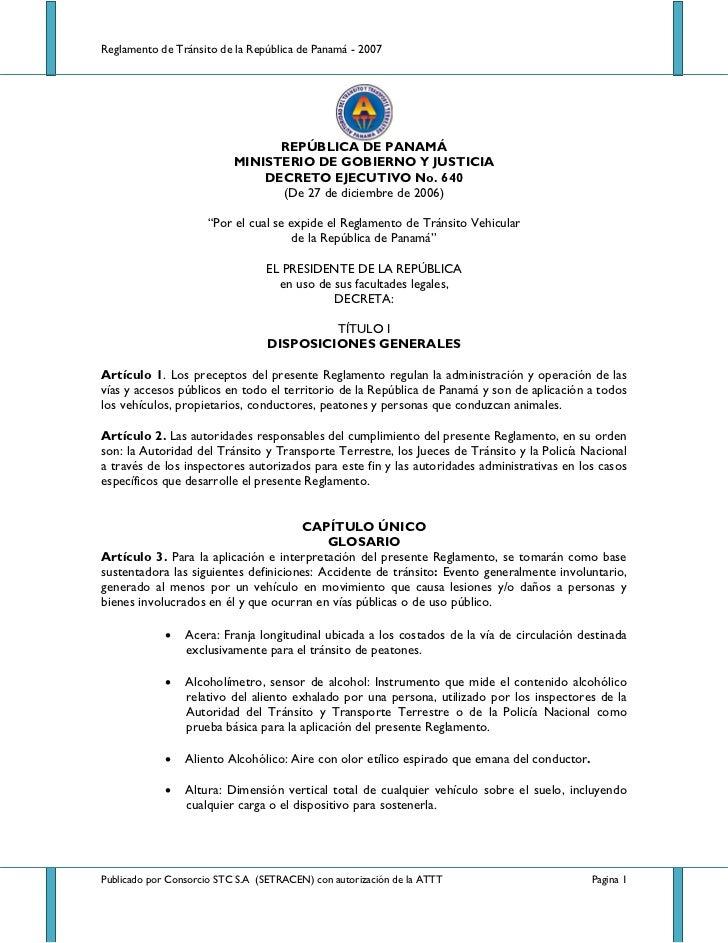 Reglamento de Tránsito de la República de Panamá - 2007                                 REPÚBLICA DE PANAMÁ              ...