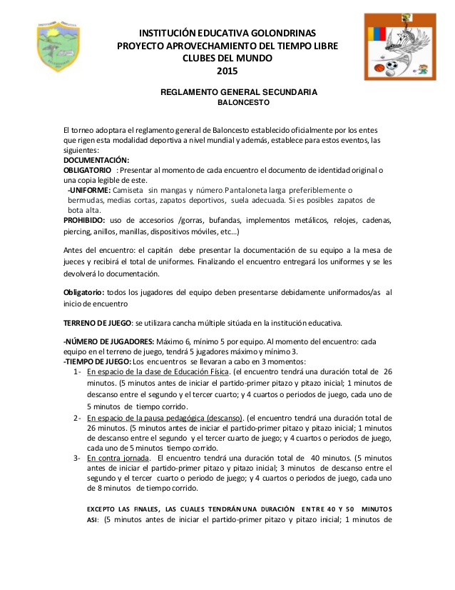 Reglamento baloncesto 2015