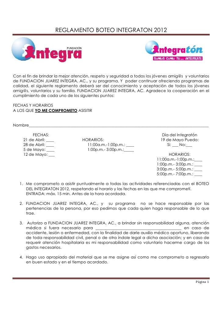 Reglamento  boteo integratón 2012