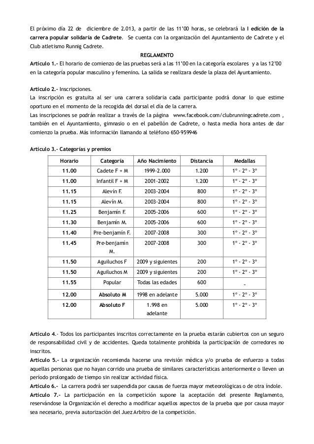 Reglamento Carrera Solidaria de Navidad Cadrete 2013
