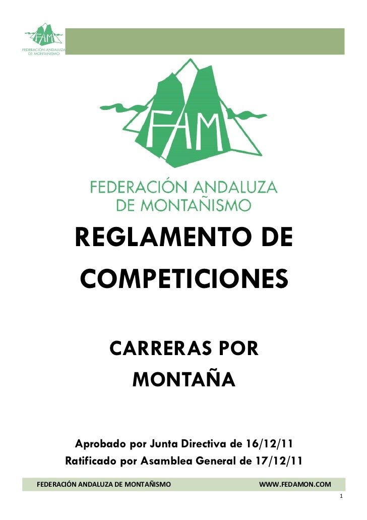 Carreras de montaña: Reglamento  Federación Andaluza de Montañismo 17 dic11