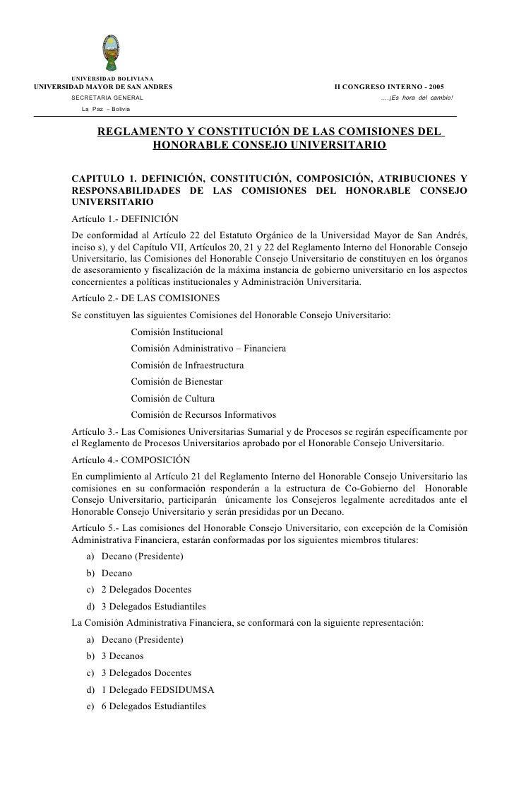 Reglamento comisiones del hcu