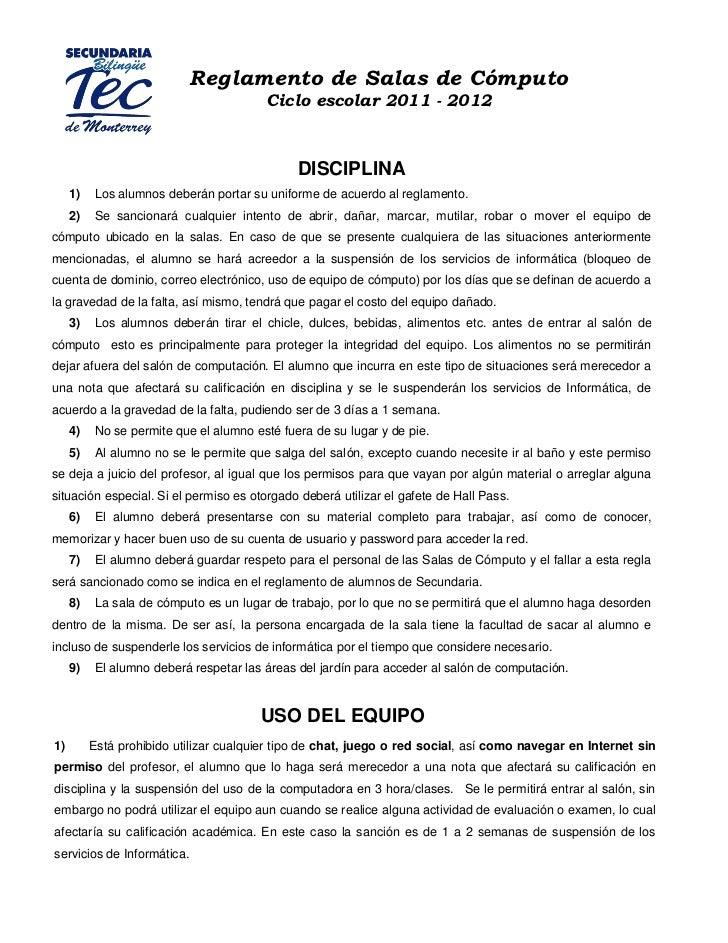 Reglamento de Salas de Cómputo                                         Ciclo escolar 2011 - 2012                          ...