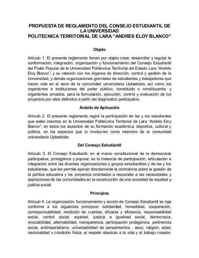 """PROPUESTA DE REGLAMENTO DEL CONSEJO ESTUDIANTIL DE LA UNIVERSIDAD POLITECNICA TERRITORIAL DE LARA """"ANDRES ELOY BLANCO"""" Obj..."""