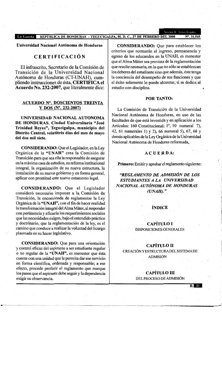 Reglamento De Admision De Los Estudiantes A La Unah