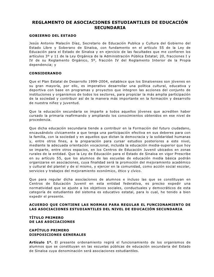 REGLAMENTO DE ASOCIACIONES ESTUDIANTILES DE EDUCACIÓN                       SECUNDARIA GOBIERNO DEL ESTADO  Jesús Antonio ...