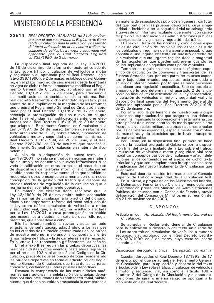 Reglamento de circulacion 2003