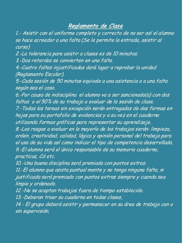 Reglamento de clase mio for 5 reglas del salon de clases