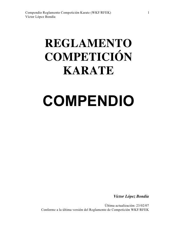 Reglamento De Competicion Karate