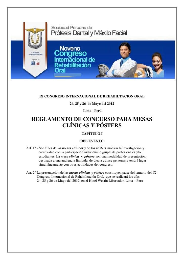 IX CONGRESO INTERNACIONAL DE REHABILTACION ORAL                               24, 25 y 26 de Mayo del 2012                ...