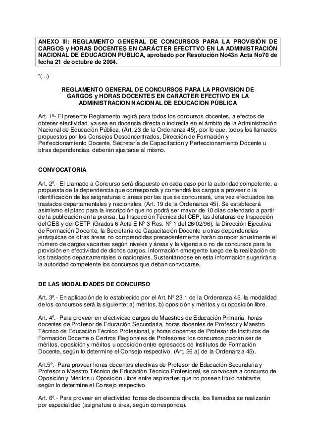 ANEXO lll: REGLAMENTO GENERAL DE CONCURSOS PARA LA PROVISIÓN DECARGOS y HORAS DOCENTES EN CARÁCTER EFECTTVO EN LA ADMINIST...