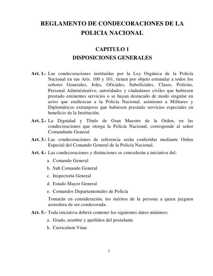 REGLAMENTO DE CONDECORACIONES DE LA              POLICIA NACIONAL                                   CAPITULO 1            ...