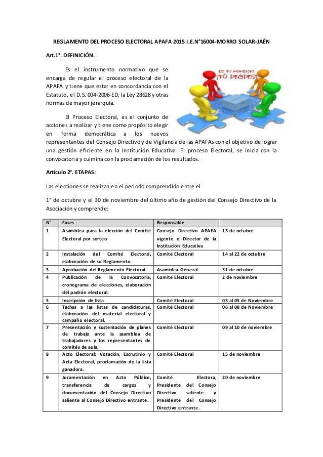 REGLAMENTO DEL PROCESO ELECTORAL APAFA 2015 I.E.N°16004-MORRO SOLAR-JAÉN Art.1°. DEFINICIÓN. Es el instrumento normativo q...