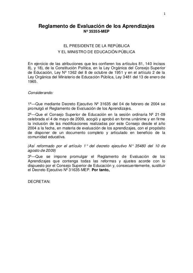 Reglamento de evaluación de los aprendizajes 2009
