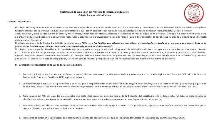 Reglamento de evaluación del proyecto de integración educativa