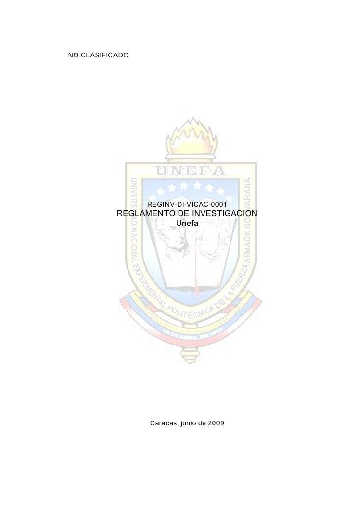 Reglamento de investigacion UNEFA