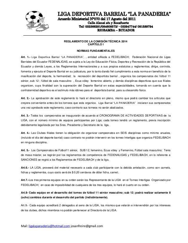 """LIGA DEPORTIVA BARRIAL """"LA PANADERIA"""" Acuerdo Ministerial N°070 del 17 Agosto del 2011 Calle Alausi s/n y Rocafuerte Tel: ..."""