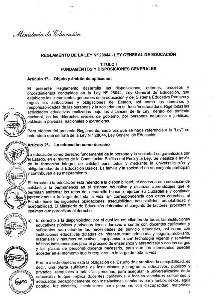 Reglamento de la ley de educacion n° 28044