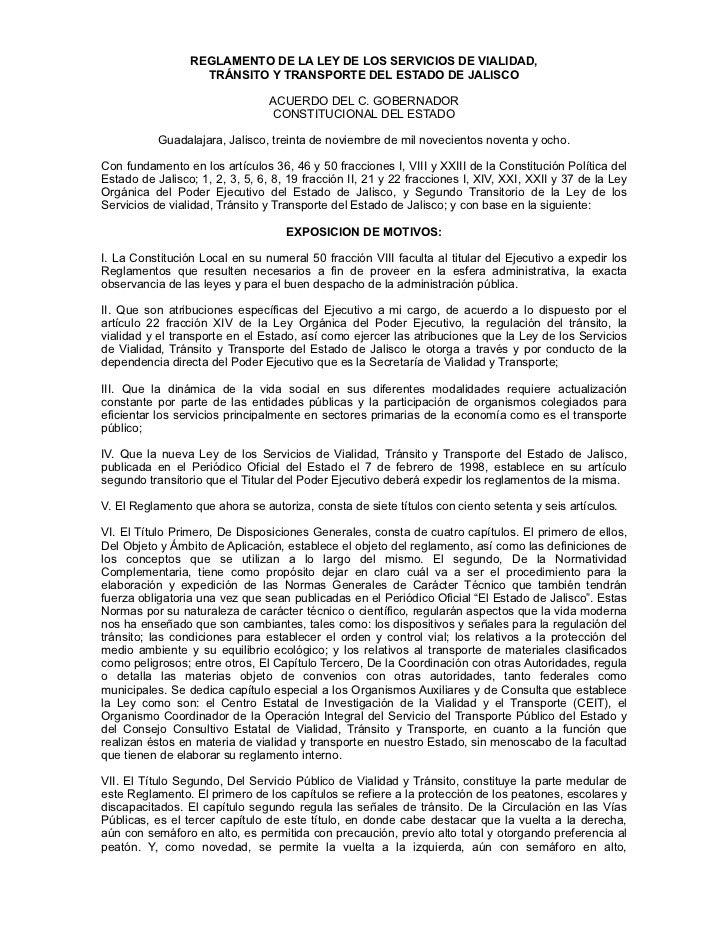 REGLAMENTO DE LA LEY DE LOS SERVICIOS DE VIALIDAD,                   TRÁNSITO Y TRANSPORTE DEL ESTADO DE JALISCO          ...