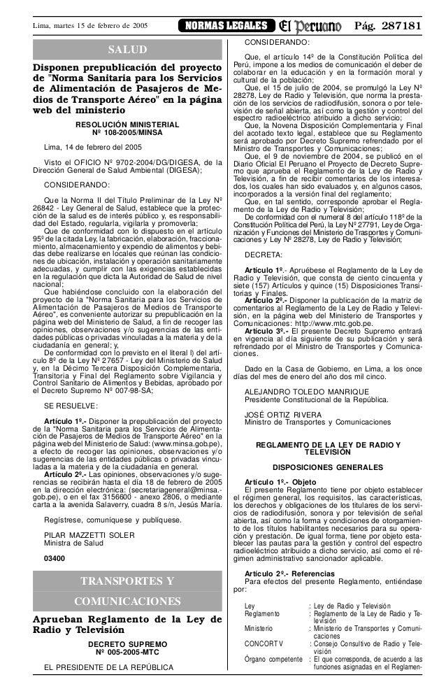 """Pág. 287181NORMAS LEGALESLima, martes 15 de febrero de 2005 SALUD Disponen prepublicación del proyecto de """"Norma Sanitaria..."""