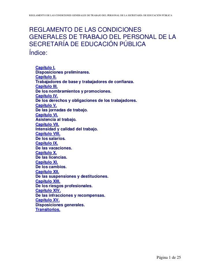 Reglamentodelascondicionesgeneralesdetrabajodelpersonaldelasep