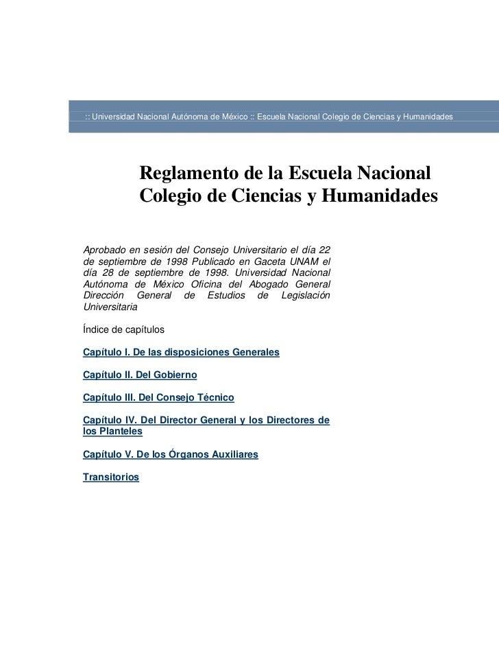 :: Universidad Nacional Autónoma de México :: Escuela Nacional Colegio de Ciencias y Humanidades              Reglamento d...