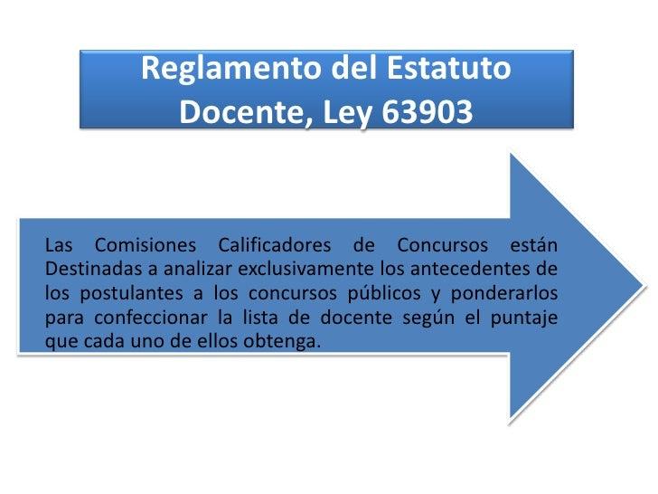Reglamento del Estatuto            Docente, Ley 63903Las Comisiones Calificadores de Concursos estánDestinadas a analizar ...