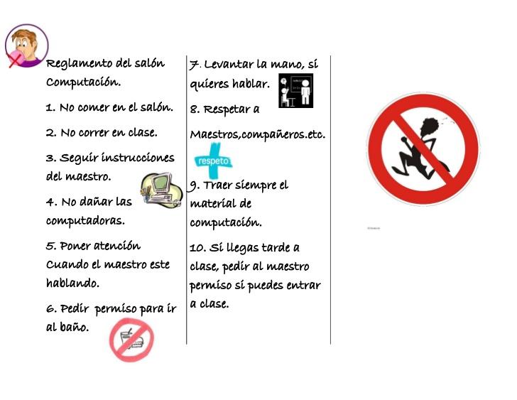Reglamento del sal n computaci n for 10 reglas del salon de clases en ingles
