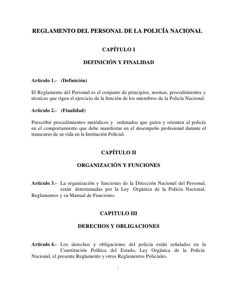 Reglamento de Personal de la Policía Boliviana