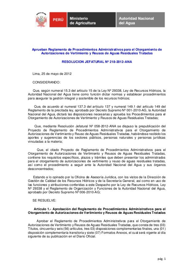 pág. 1Aprueban Reglamento de Procedimientos Administrativos para el Otorgamiento deAutorizaciones de Vertimiento y Reusos ...