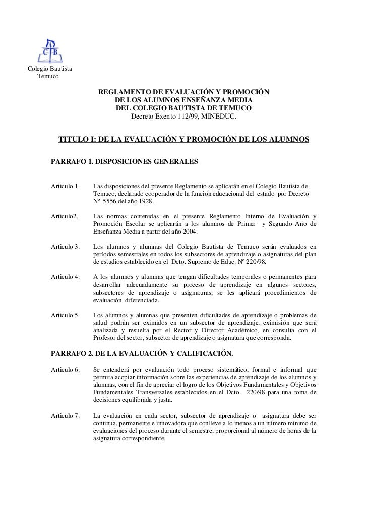 Colegio Bautista   Temuco                       REGLAMENTO DE EVALUACIÓN Y PROMOCIÓN                          DE LOS ALUMN...