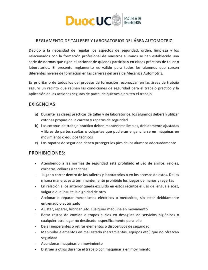 REGLAMENTO DE TALLERES Y LABORATORIOS DEL ÁREA AUTOMOTRIZDebido a la necesidad de regular los aspectos de seguridad, orden...