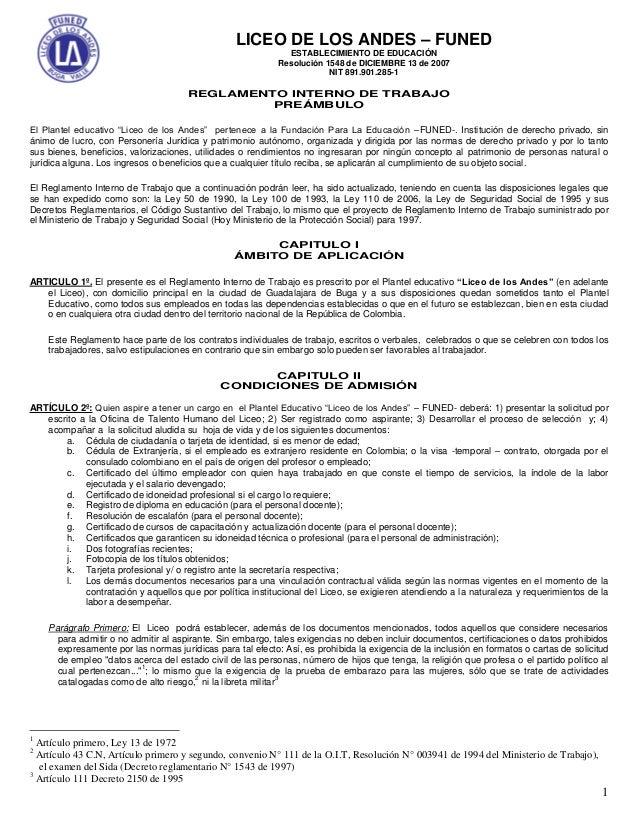 1LICEO DE LOS ANDES – FUNEDESTABLECIMIENTO DE EDUCACIÓNResolución 1548 de DICIEMBRE 13 de 2007NIT 891.901.285-1REGLAMENTO ...