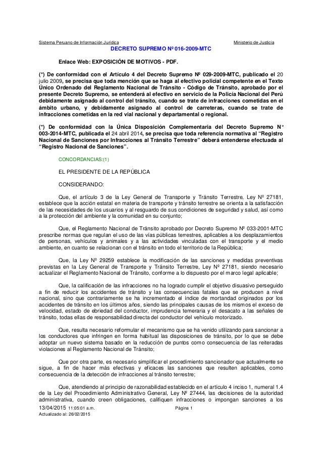 Sistema Peruano de Información Jurídica Ministerio de Justicia 13/04/2015 11:05:01 a.m. Página 1 Actualizado al: 26/02/201...