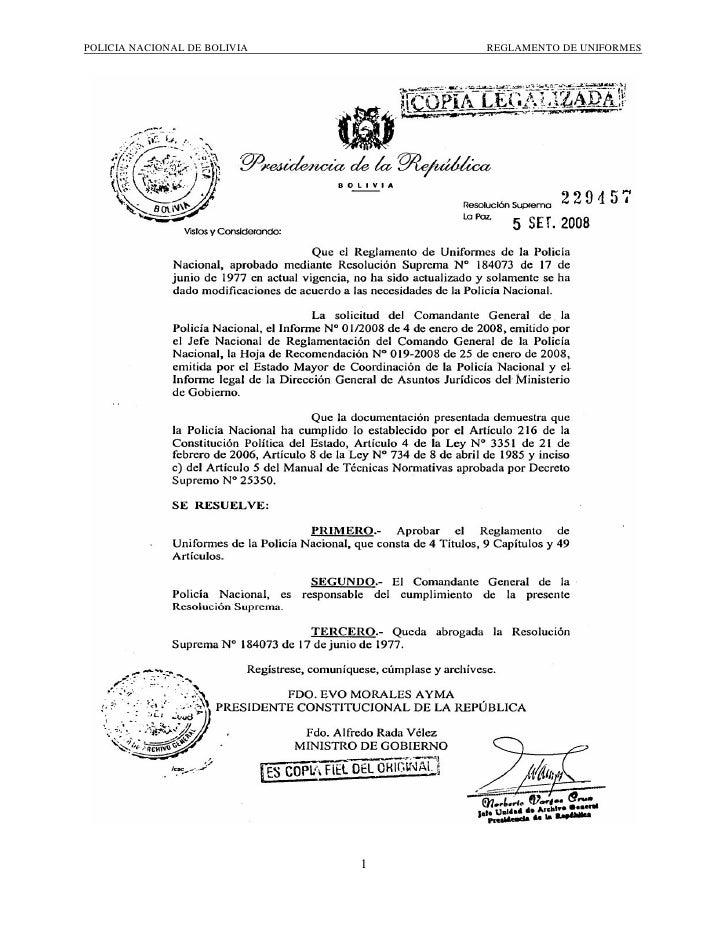 POLICIA NACIONAL DE BOLIVIA       REGLAMENTO DE UNIFORMES                                   1
