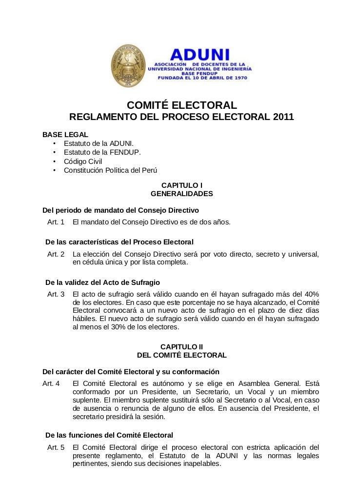 Reglamento electoral 2011