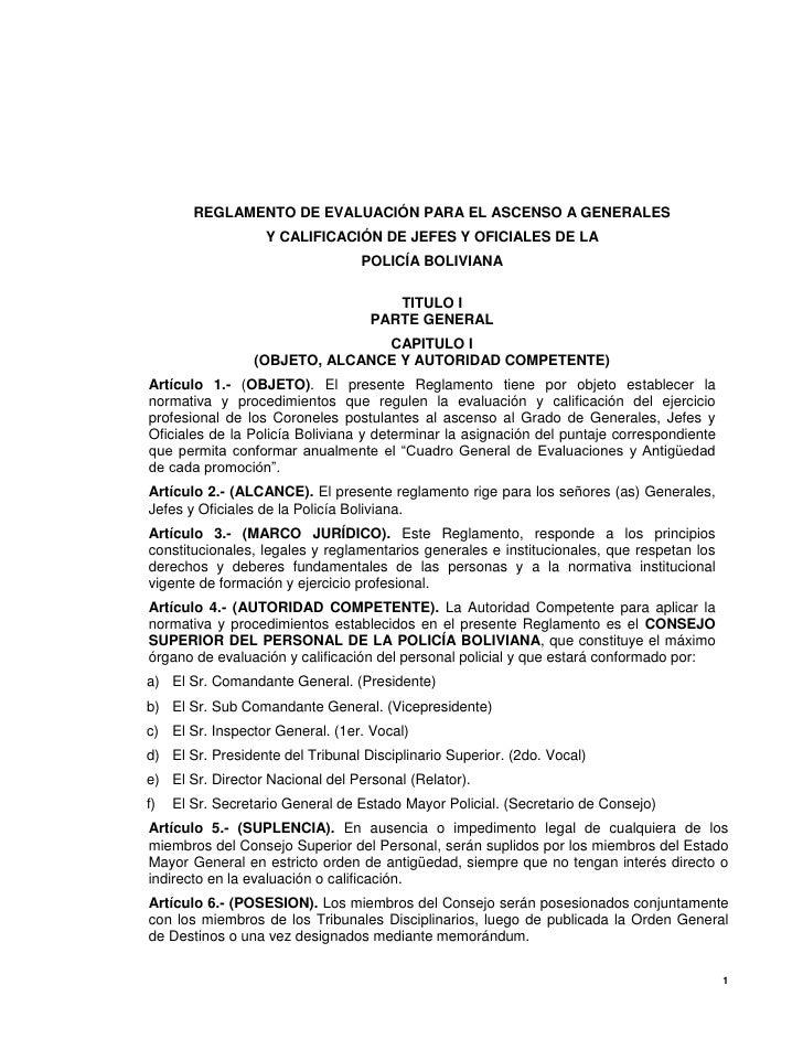 Reglamento de Evaluacion Generales, Jefes Y Oficiales Policia Boliviana