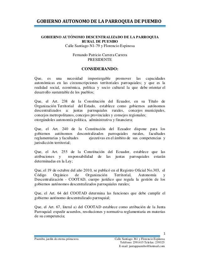 Reglamento GAD Puembo 2012