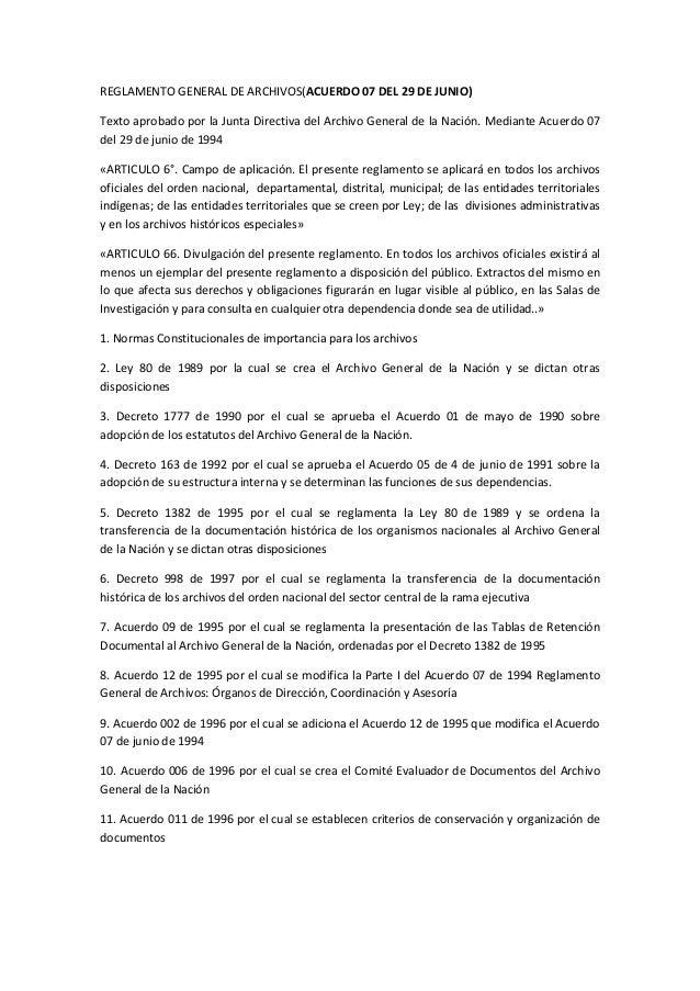 Reglamento general de archivos acuerdo 07