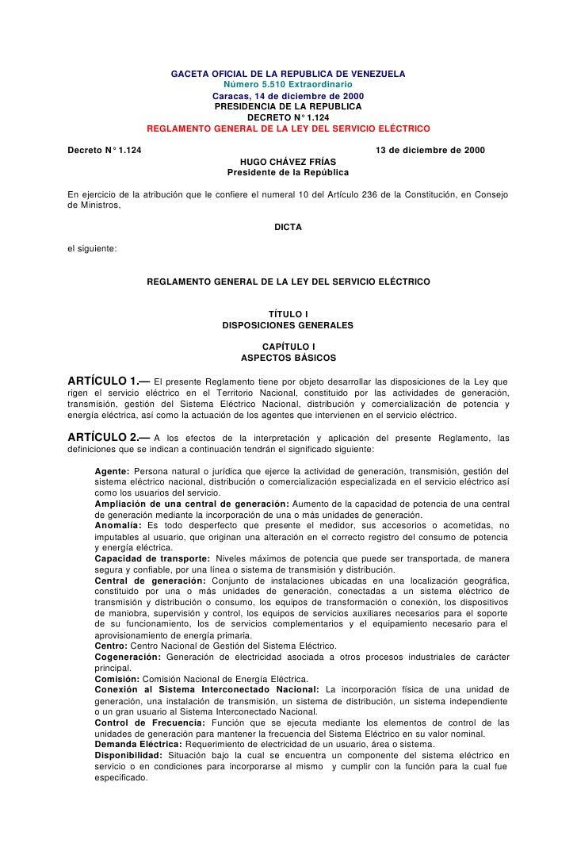 GACETA OFICIAL DE LA REPUBLICA DE VENEZUELA                                 Número 5.510 Extraordinario                   ...