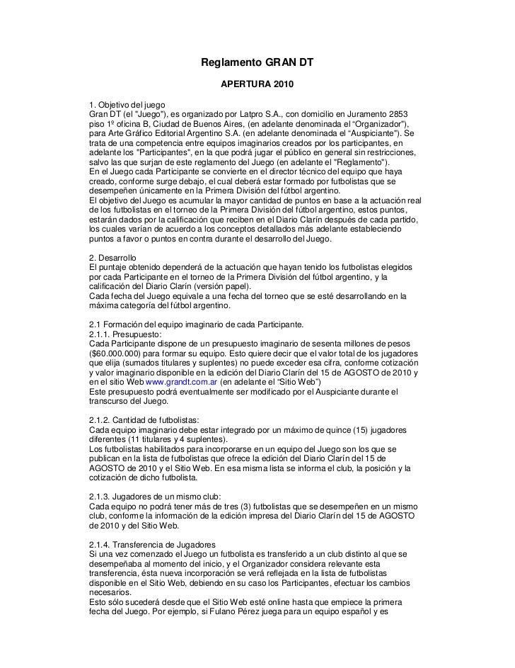 """Reglamento GRAN DT                                    APERTURA 20101. Objetivo del juegoGran DT (el """"Juego""""), es organizad..."""