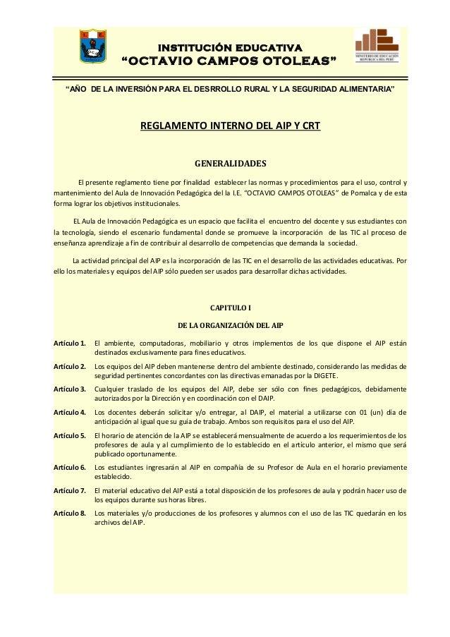 Reglamento interno aip 2013