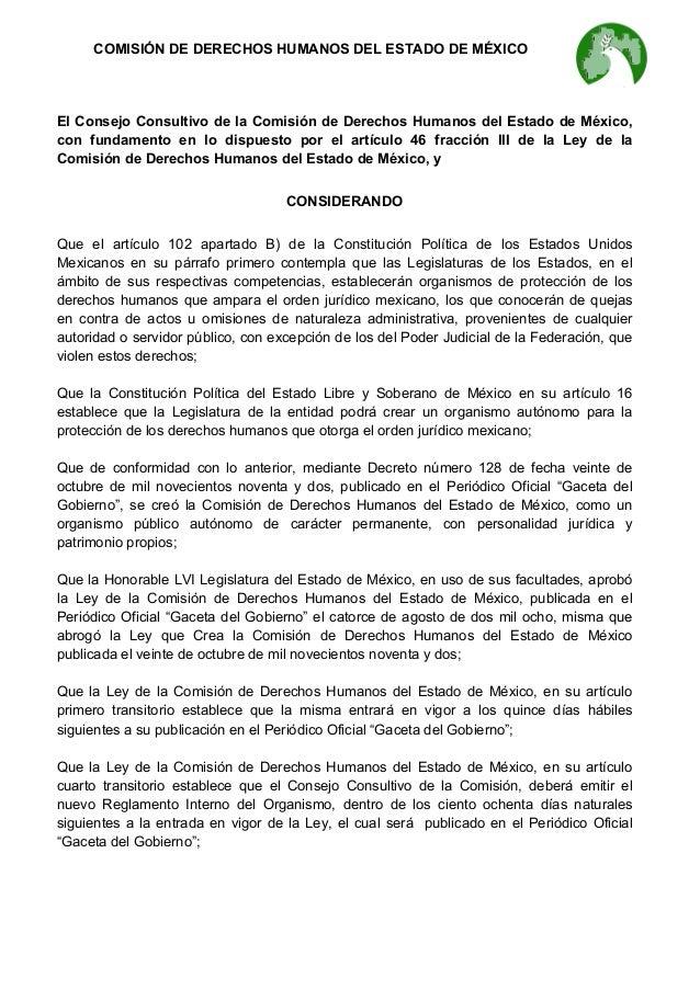 COMISIÓN DE DERECHOS HUMANOS DEL ESTADO DE MÉXICO  El Consejo Consultivo de la Comisión de Derechos Humanos del Estado ...