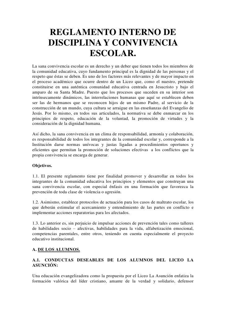 Reglamento interno de disciplina y convivencia escolar
